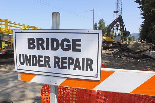 Bridge construction sign.