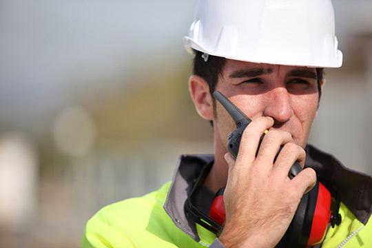 worker wearing reflective safety gear