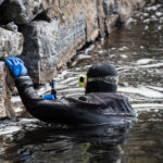 Bridge inspection underwater diver.