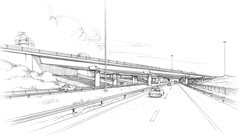 Drawing of a bridge with the potential for a construction accident