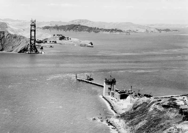 Early construction of Golden Gate Bridge