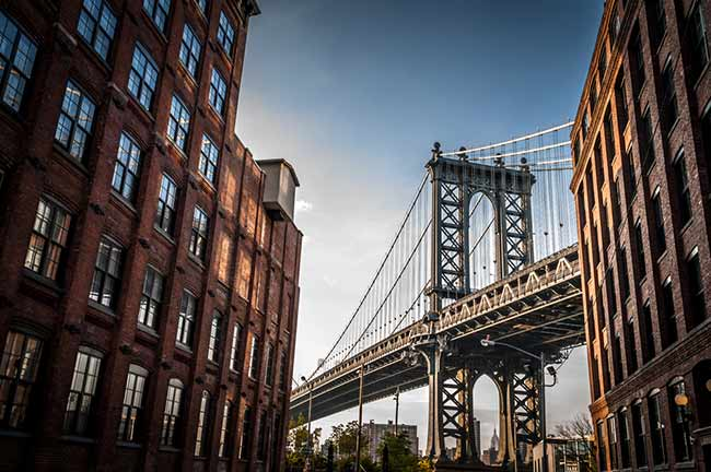 Manhattan Bridge, constructed of steel