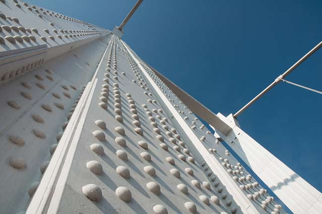Closeup of steel bridge construction