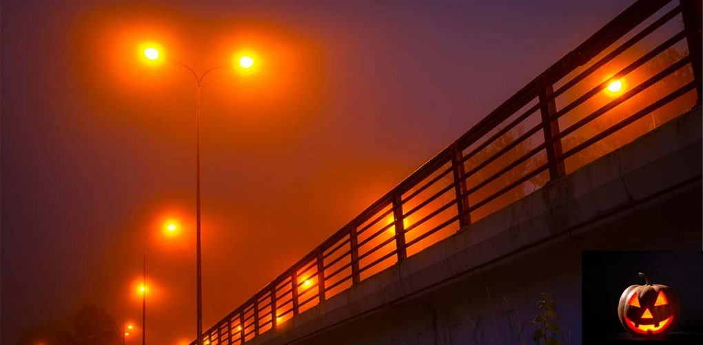 scary bridge at night