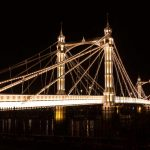 The intricate Albert Bridge illuminated at night.