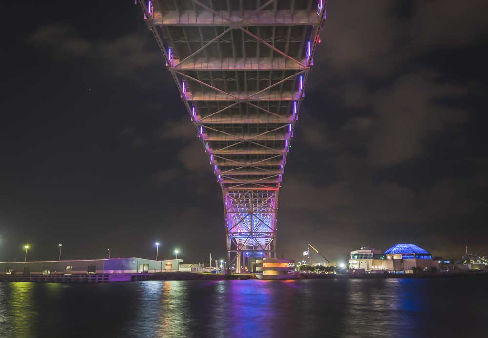 Corpus Christi Harbor Bridge at twilight.