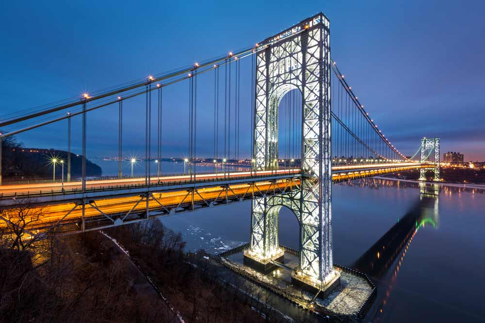 "George Washington Bridge towers lighted on a ""special"" night."