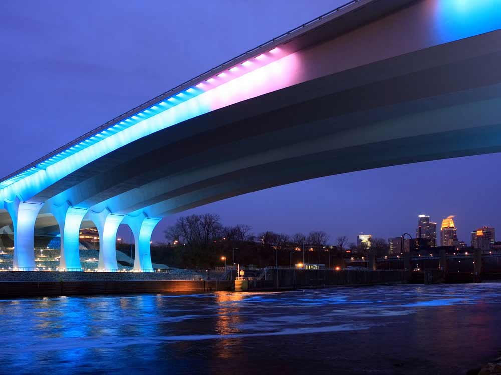A view of Minneapolis and the I-35W Bridge at twilight.