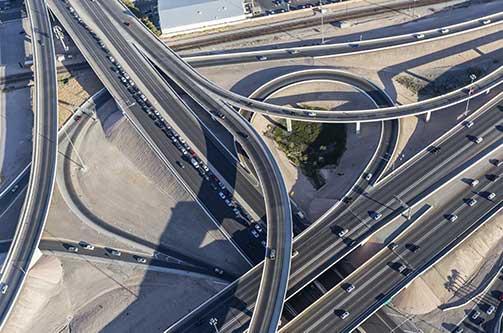 "The notorious ""Spaghetti Bowl"" interchange in downtown Las Vegas."