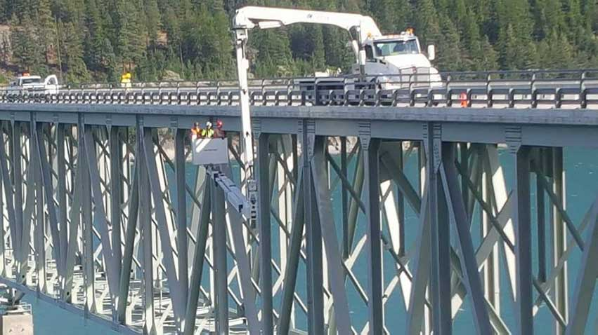 Our Aspen A-62 bridge inspection truck in Montana for a Forest Service bridge inspection.