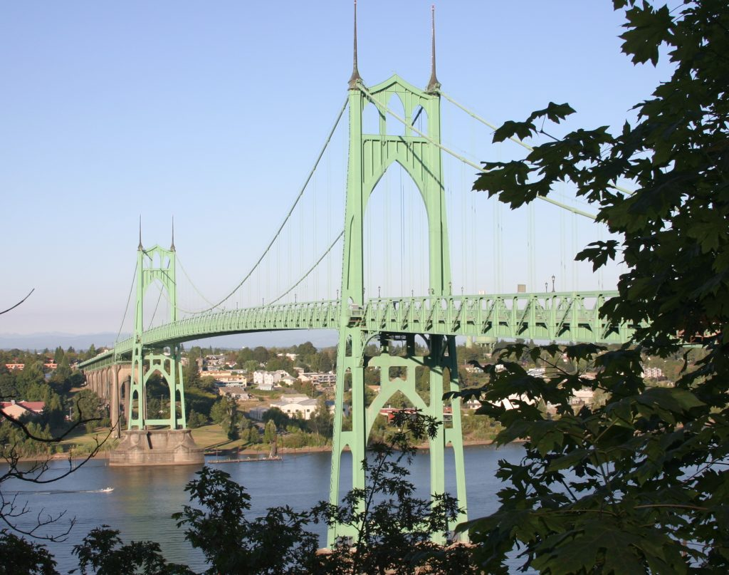 Steel Bridges Painted Green St Johns Bridge