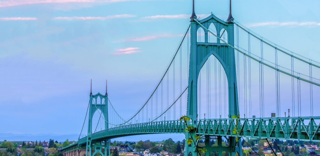 Steel Bridges Painted Green St Johns Bridge Featured
