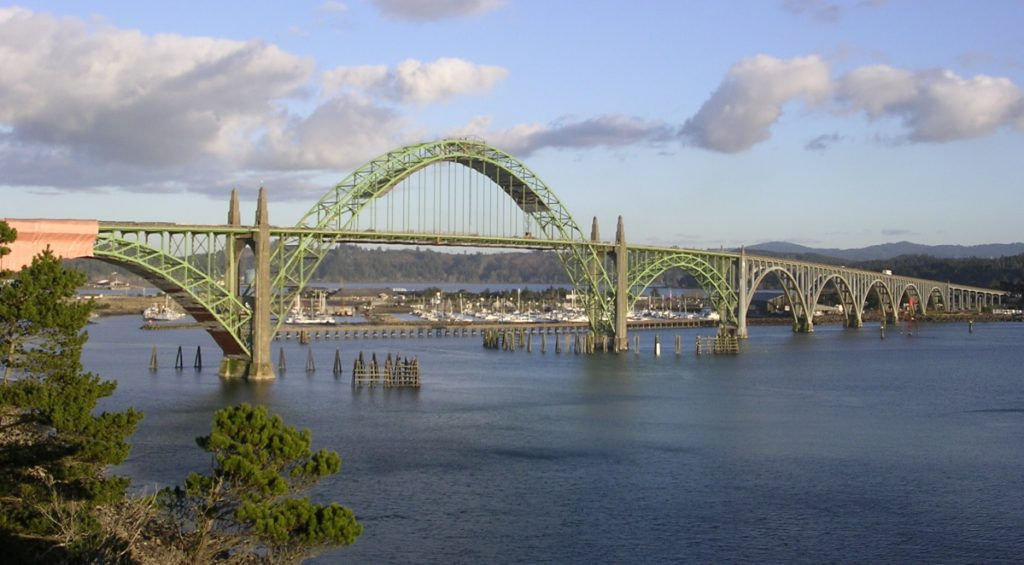 Steel Bridges Painted Green Yaquina Bay Bridge